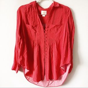 Anthropologie Maeve Blouse Red w/ White Polka Dots